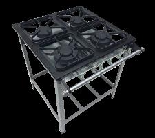 Fogão Industrial 4 bocas com Porta Panela 2 queimadores simples e 2 duplo Perfil 5 S2020 M14 30x30 METALMAQ