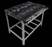 Fogão Industrial 6 bocas com Porta Panela 3 queimadores simples e 3 duplo Perfil 5  S2020 M15 30x30 METALMAQ