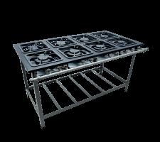 Fogão Industrial 8 bocas com Porta Panela 4 queimadores simples e 4 duplo Metalmaq S2000 M16 30x30