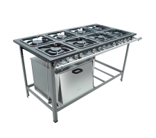 Fogão Industrial 8 bocas com Forno 4 queimadores simples e 4 duplo Metalmaq S2000 M20 30x30