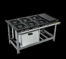 Fogão Industrial 6 bocas com Forno e Chapa  3 queimadores simples e 3 duplo Metalmaq S2000 M23 30x30