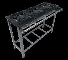 Fogão Industrial 3 bocas com Porta Panela 2 queimadores simples e 1 duplo S2020 M07 30x30 METALMAQ