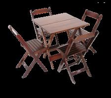 Jogo De Mesa 70 X 70Cm Com 4 Cadeiras Dobráveis - Madeira - Madesil